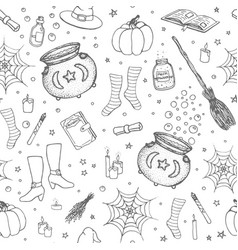 halloween pattern with pumpkin witch hat sketch vector image