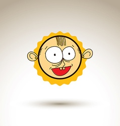 Hand drawn cartoon happy smiling boy Web avatar vector