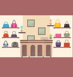 handbags store color card vector image