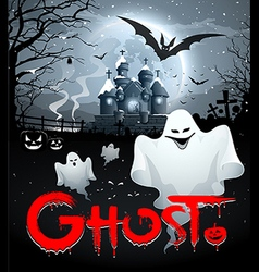 Happy Halloween ghost and red message vector image