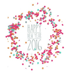 Happy new year 2016 confetti party simple template vector image