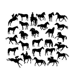 horse racing silhouettes vector image