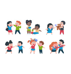 kids behavior cartoon brother and sister fight vector image