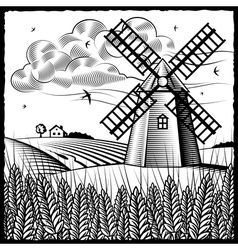 Landscape with windmill black and white vector
