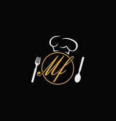 Letter mf logo symbol icon design restaurant vector