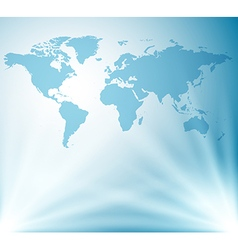 Light blue background with map of world vector