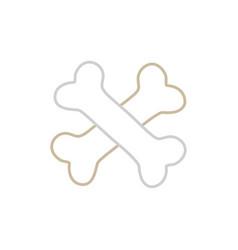 Line bones dangerous alert symbol of death vector