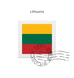 Lithuania flag postage stamp vector