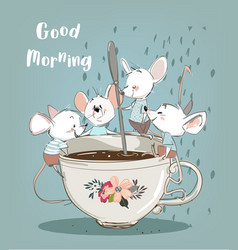 Little mouses with coffee cup vector