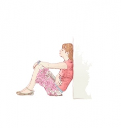 Lonely woman vector