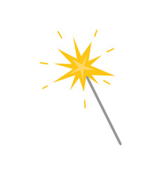 magicion stick with star flat icon isolated vector image