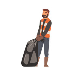 Man janitor with heavy trash bag male vector