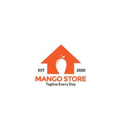 Mango store and fruit sale logo design vector
