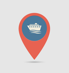 map pin ship port vector image