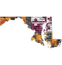 Maryland map on a brick wall vector image