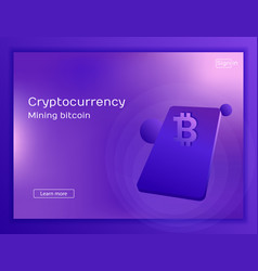 Mobile app for mining cryptocurrency bitcoin vector