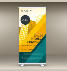 Modern yellow roll up banner display template vector