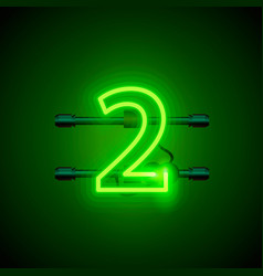 Neon city font sign number 2 signboard two vector
