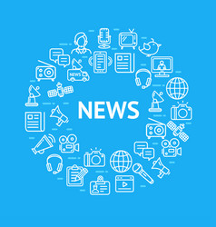 news sign round design template contour lines icon vector image