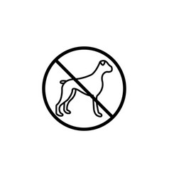 No dog line icon prohibition sign forbidden vector