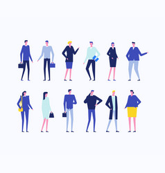 office workers - flat design style set of isolated vector image
