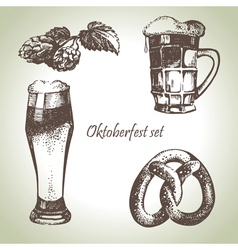 Oktoberfest set of beer hops and pretzel vector
