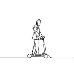 one line man rides an electric scooter vector image