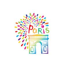paris sign triumph arch french famous landmark vector image