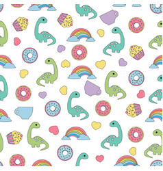 Pattern with dinosaurs and food vector