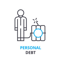 personal debt concept outline icon linear sign vector image