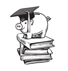 piggy bank in graduation hat on stack of books vector image