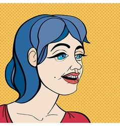 pop art blue hair girl vector image
