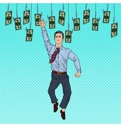 Pop Art Businessman Jumping for Money vector image