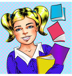 Pop art happy school girl holding books vector
