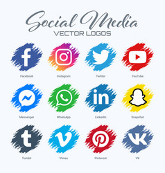 Popular social media logos collection vector