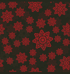 Red pattern with mandala vintage decorative vector