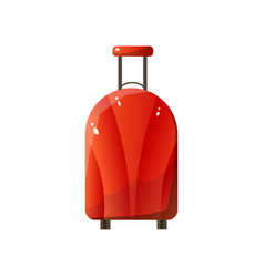 red polycarbonate suitcase with wheels traveler vector image