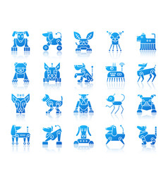 Robot dog simple gradient icons set vector