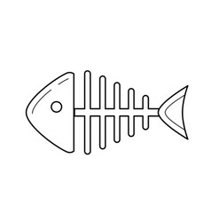Rotten fish skeleton line icon vector