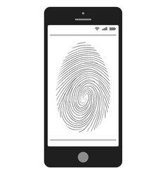 scanning fingerprint on mobile phone vector image
