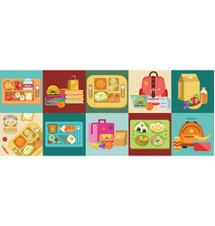 School lunch set different food boxes and kids vector