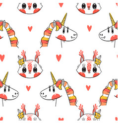 seamless pattern with faces squirrel and vector image
