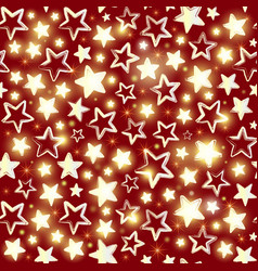 Seamless pattern with shining stars on red vector