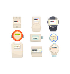 set of meters mechanical and electronic counters vector image