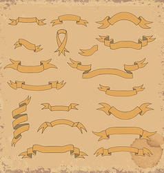 Set of the hand drawn ribbons on grunge background vector image