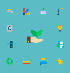 Set of urban icons flat style symbols with palette vector