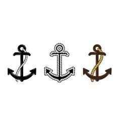 set three nautical anchor logo icon maritime vector image