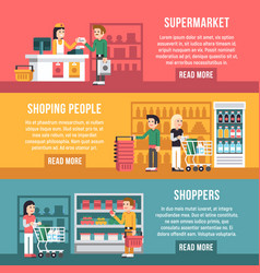 Shopping people shoppers family in supermarket vector