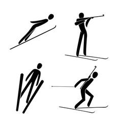 Silhouette ski jumping biathlon skiing shooting vector