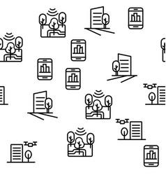 Smart city seamless pattern vector